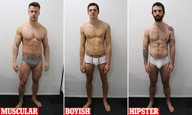 Brief encounter: The models used in our experiment: (from left) brawny Laszlo, 25, clean-cut Danny, 22, and tattooed Daniel, 27